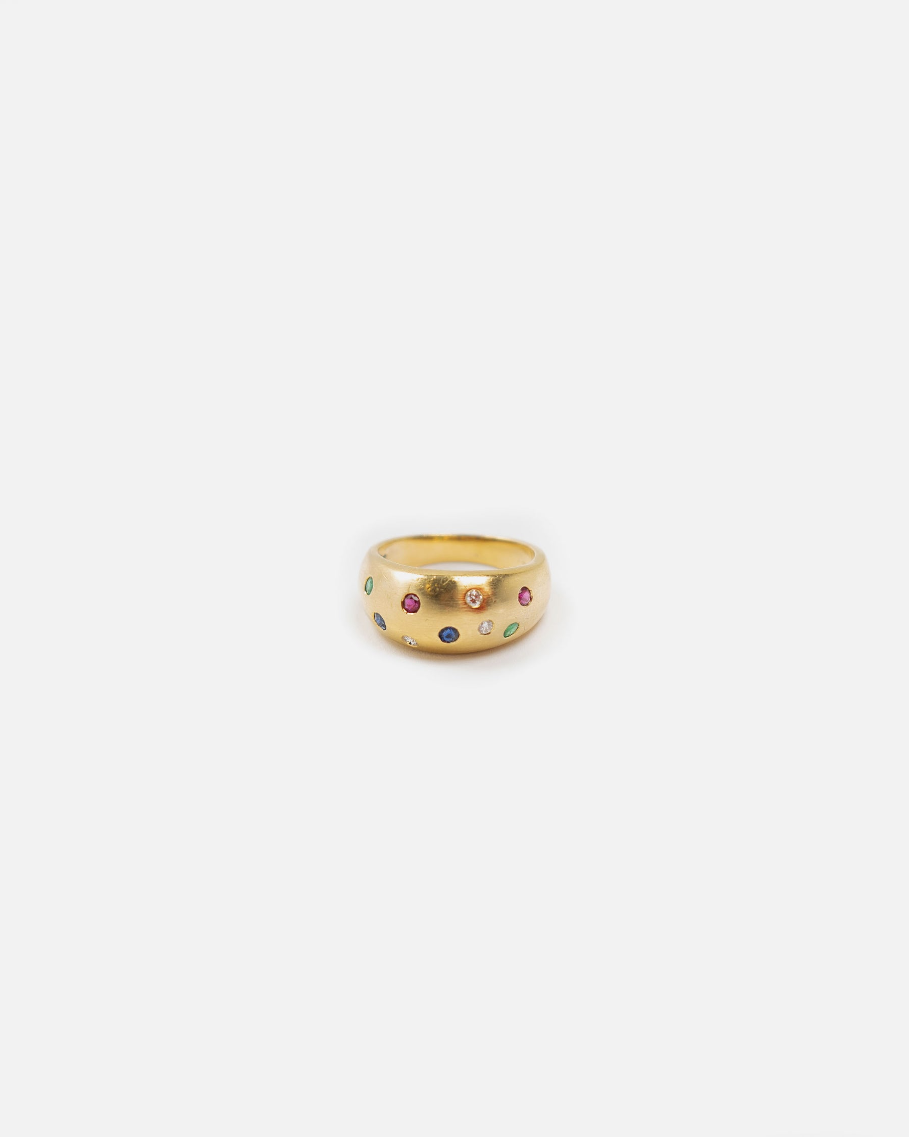 18K Gold W/ 4 Color Stones Ring