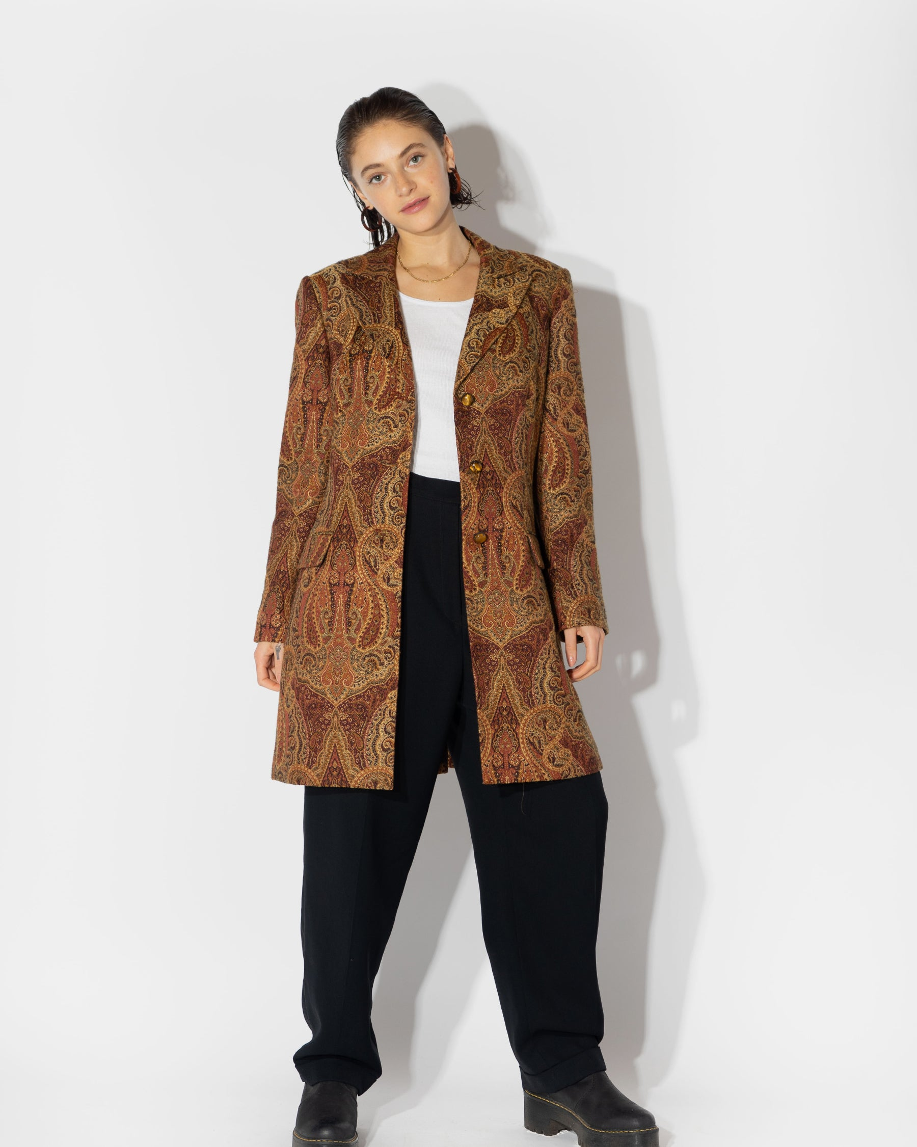 Paisley Coat with Tiger Eye Buttons