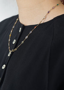 <strong>VINTAGE</strong></br>Gold Necklace w/ Multi stones
