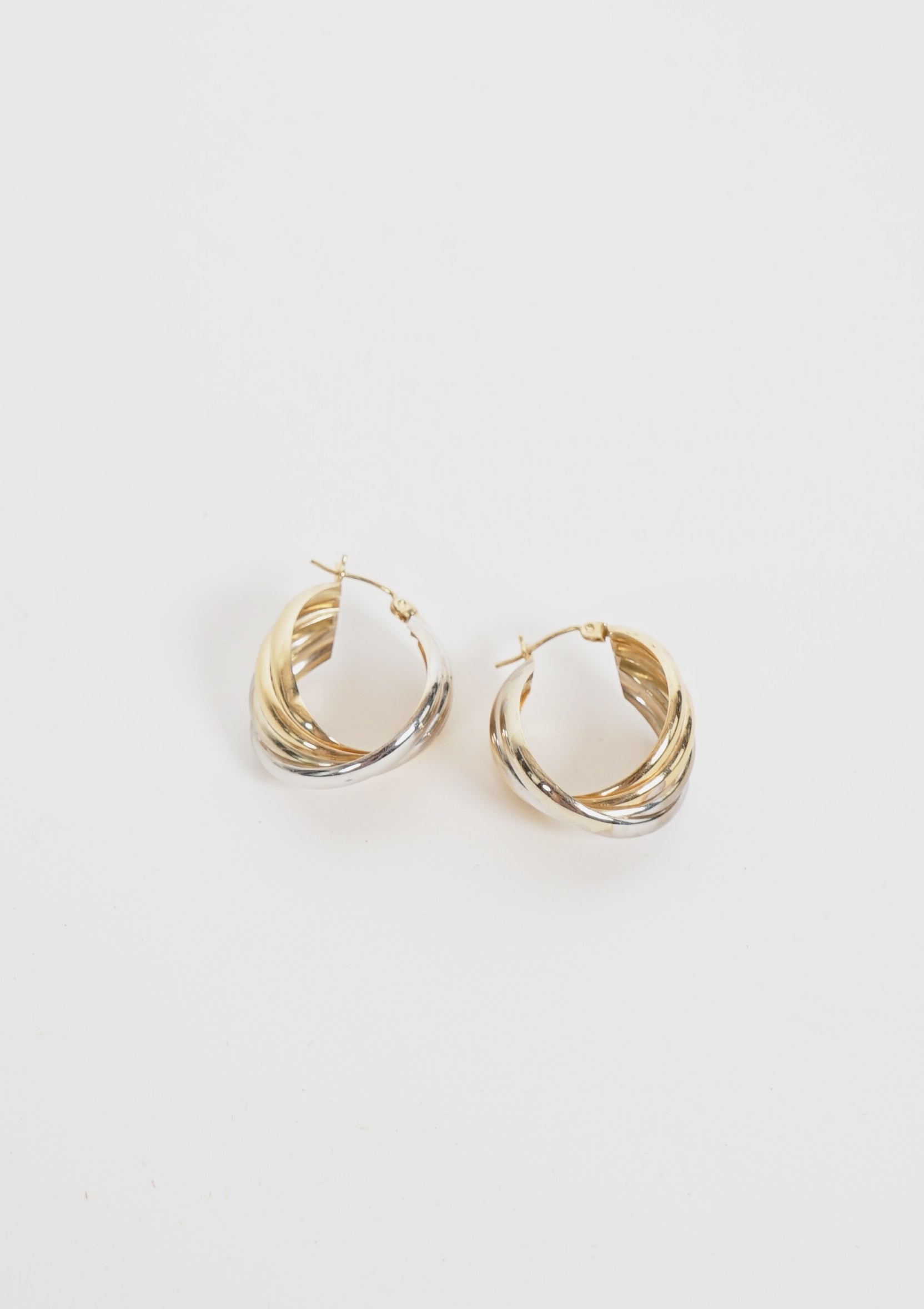 Gold / Silver Twisted Hoop Earrings