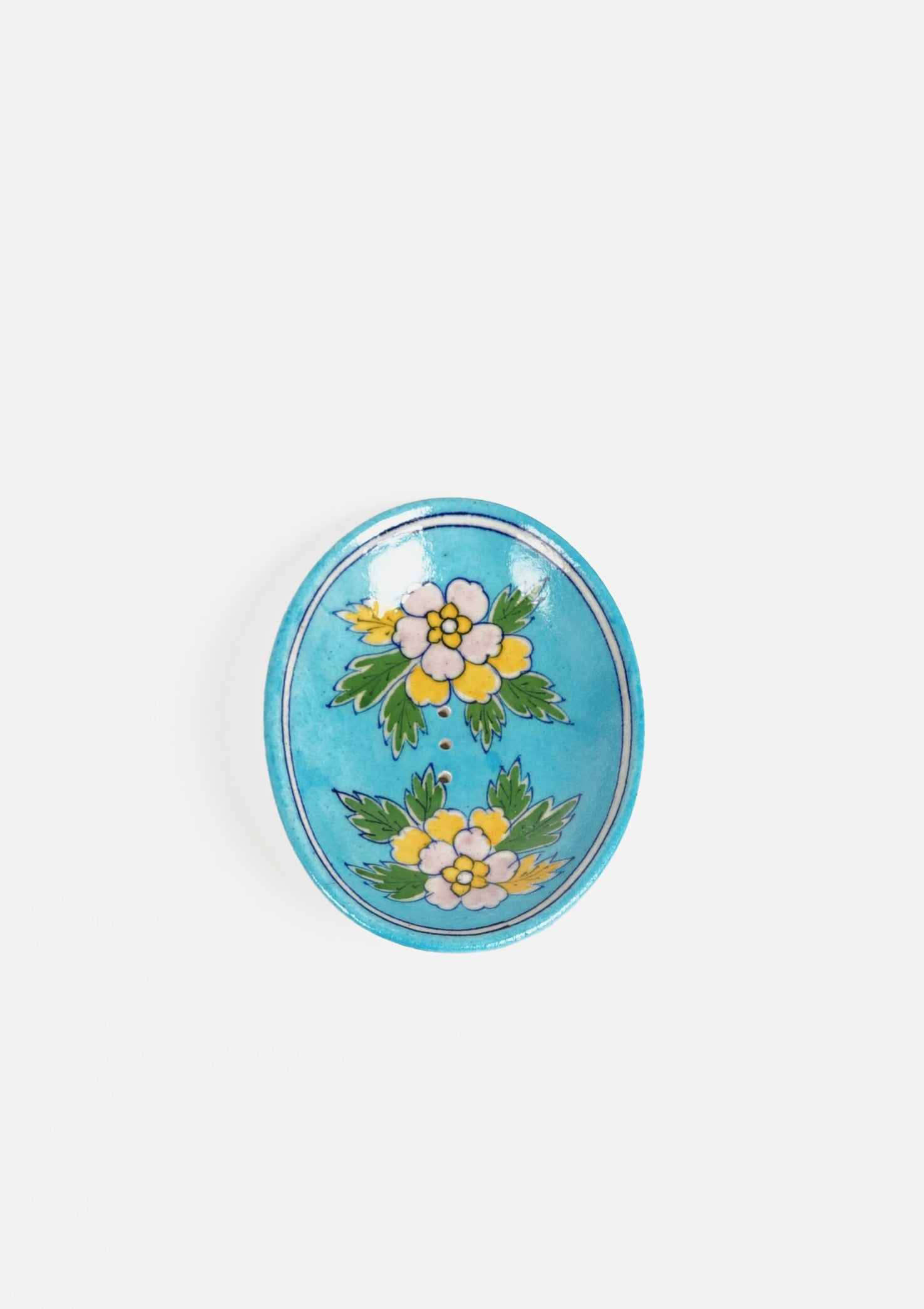 Oval Soap Dish Floral Multi Turquoise