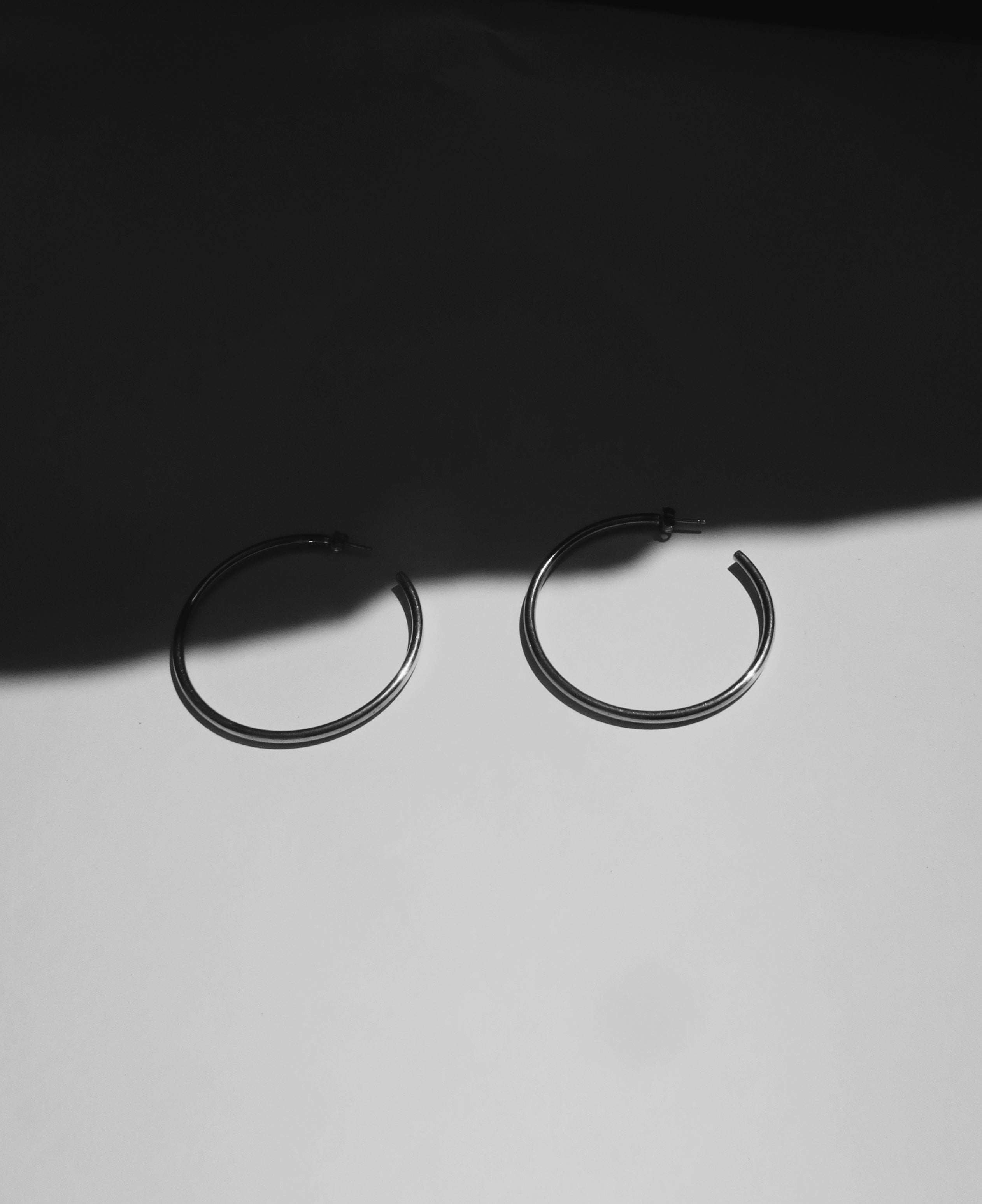 Tube Silver Hoop Earrings