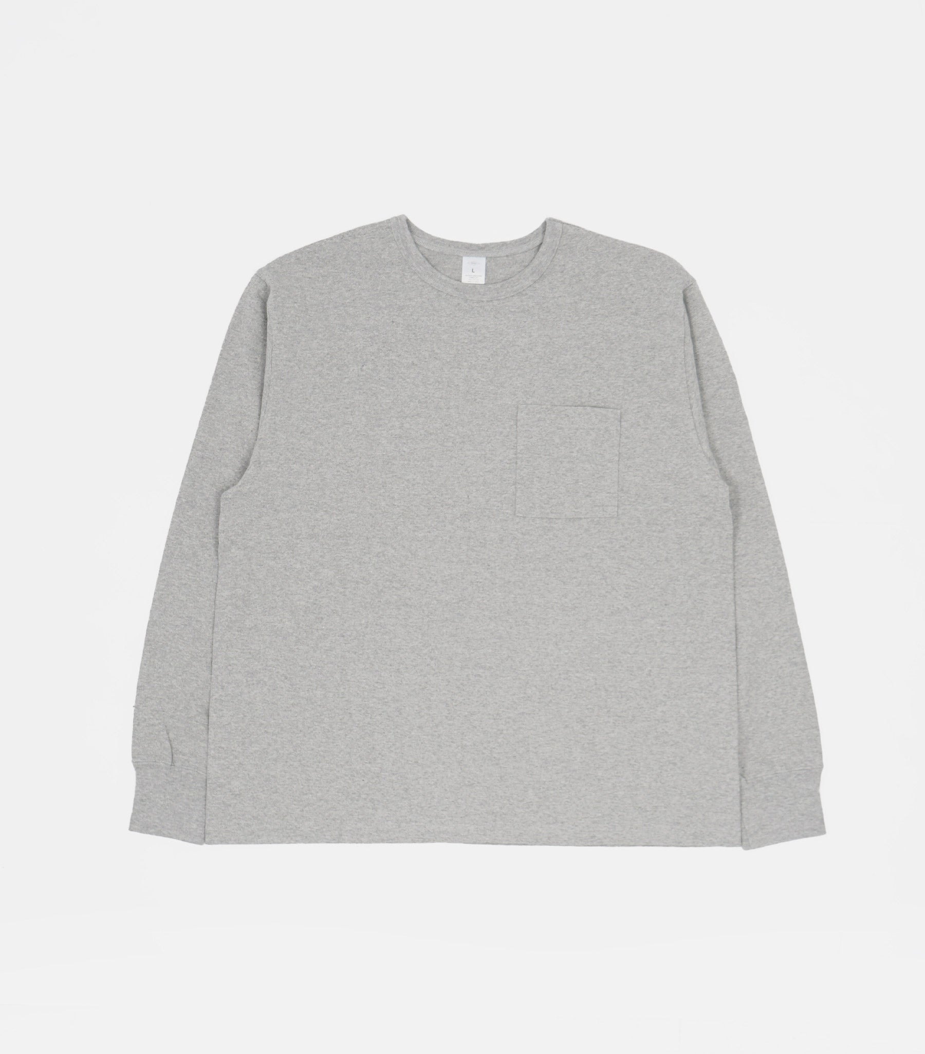 Heavy-weight Pocket Long Sleeve T-shirts Gray