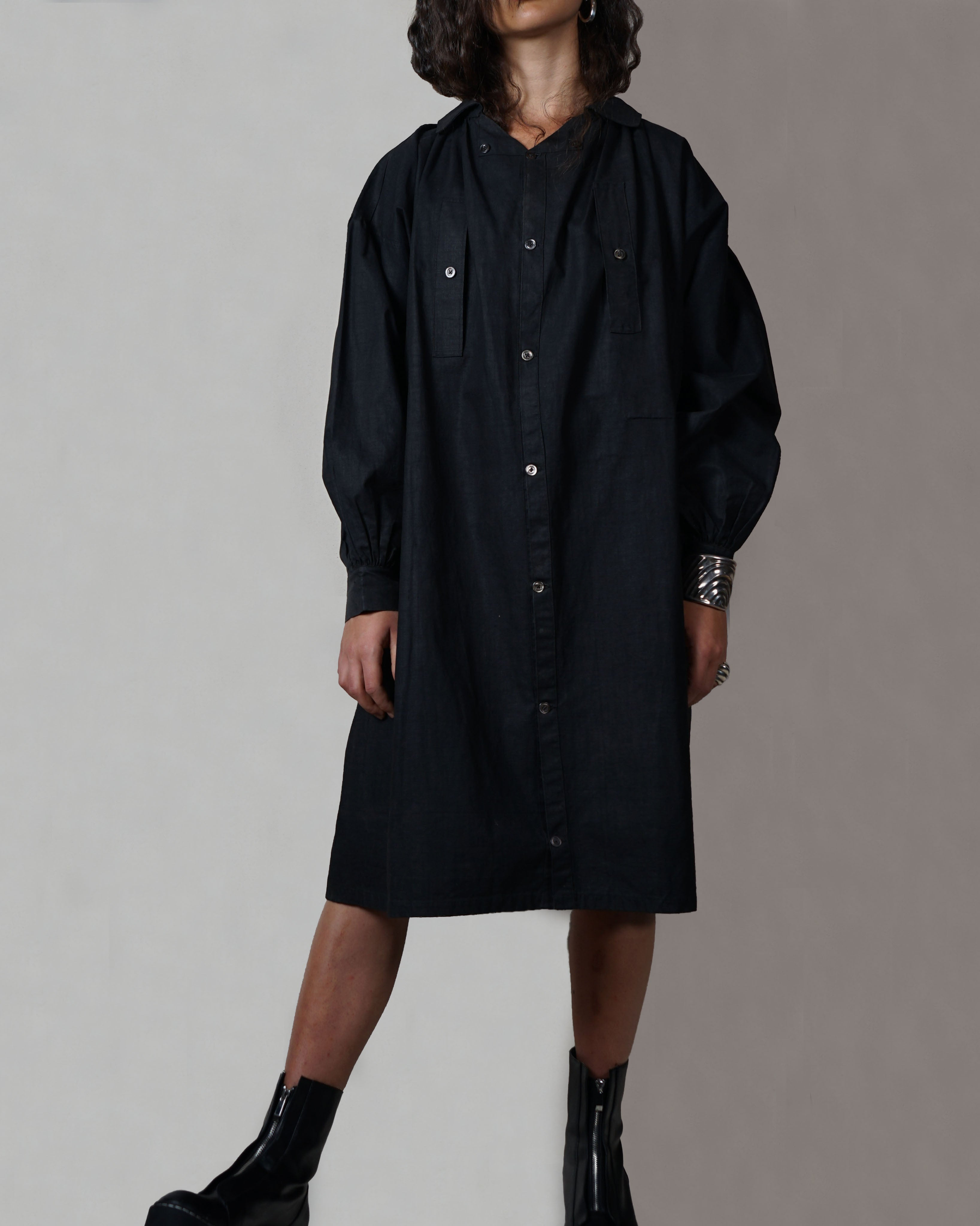 Black French Linen Smock