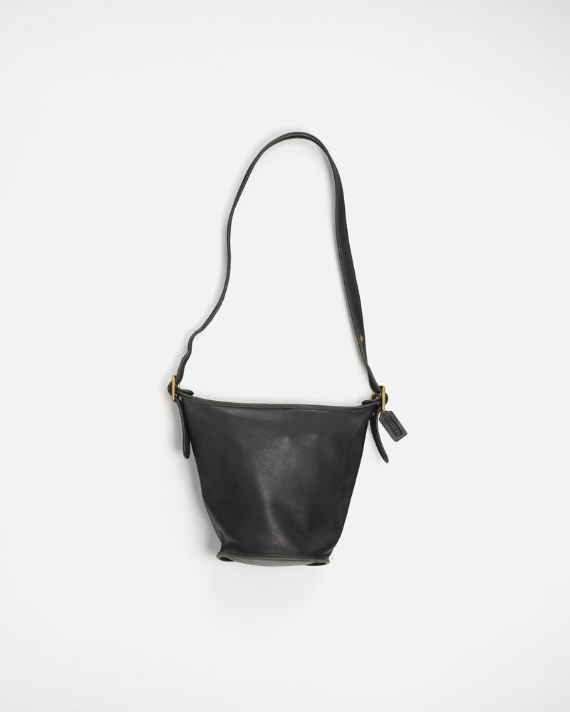 Black Leather Bucket Shoulder Bag