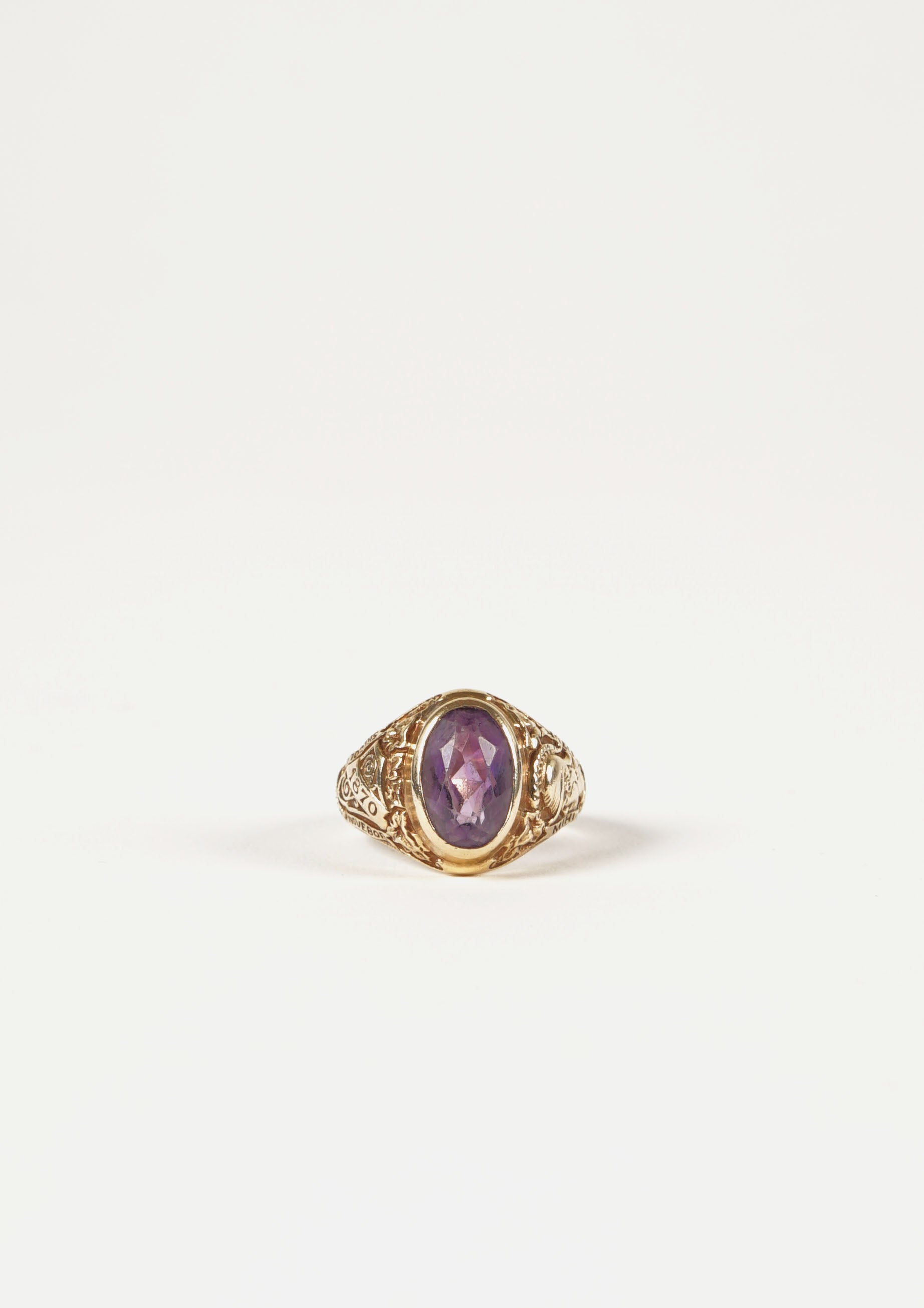 14k Gold w/ Purple Tourmaline College Ring