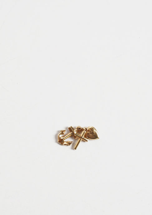 <strong>VINTAGE</strong></br>14k Gold Triple Charm