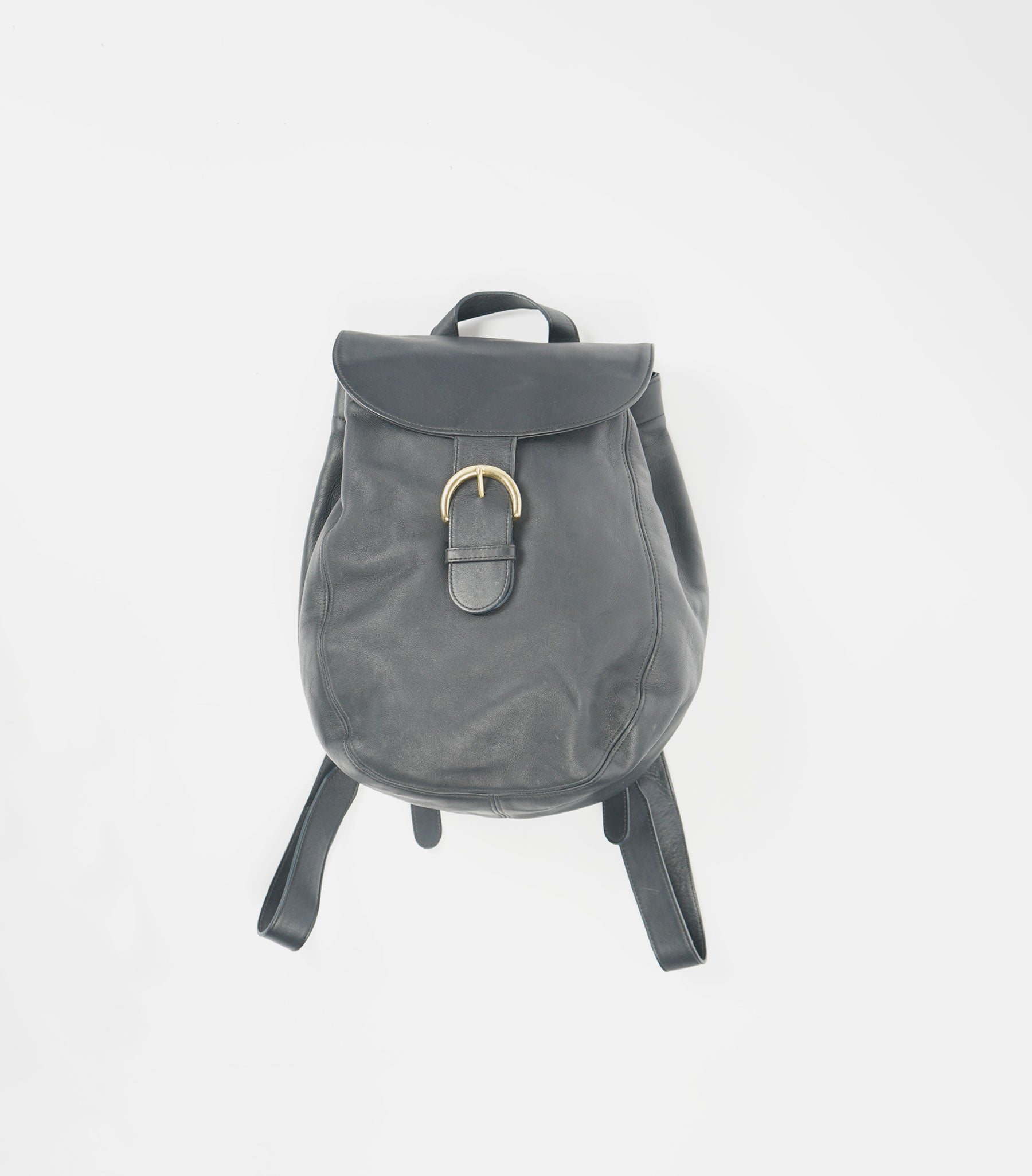 Dark Navy Leather Backpack
