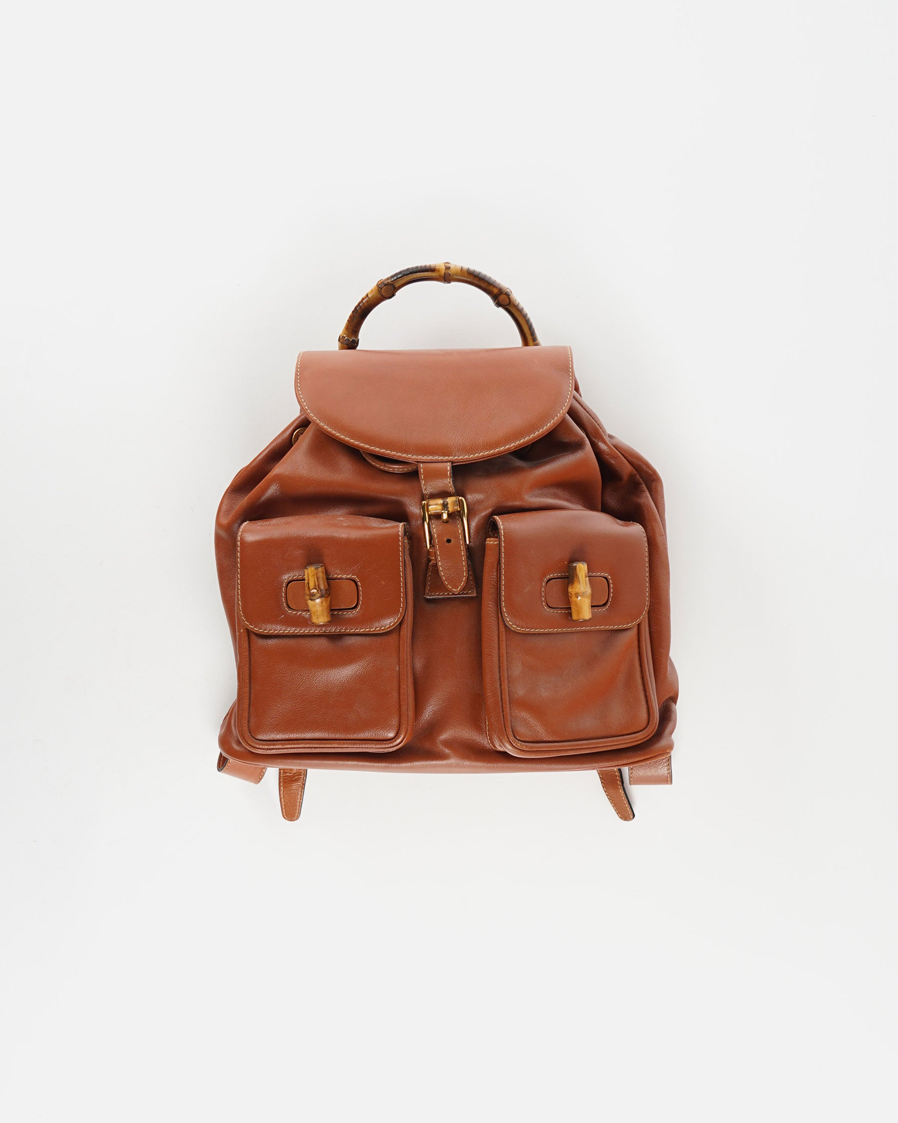 Brown Leather Back Pack With Bamboo Handle