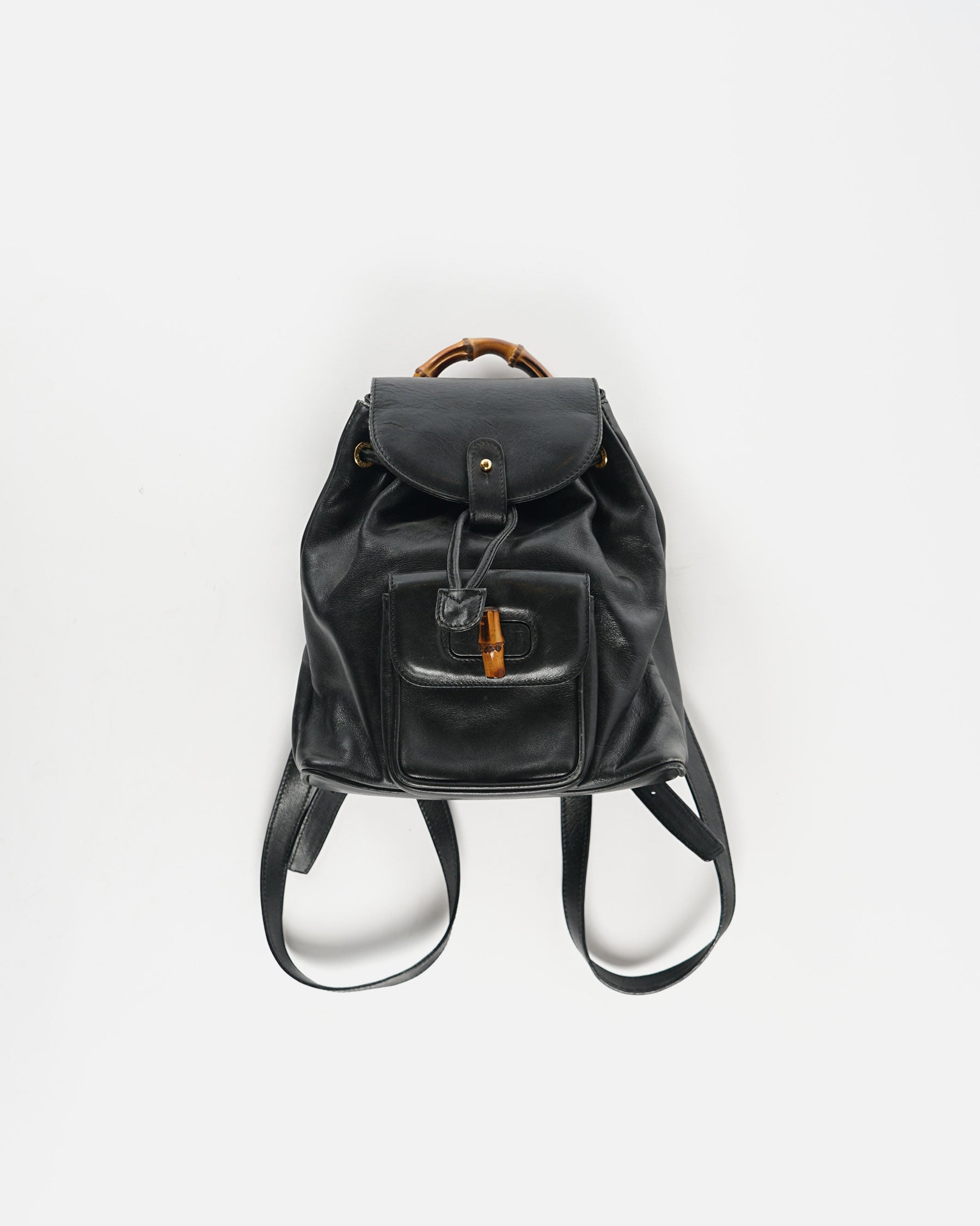 Black Leather Backpack With Bamboo Handle