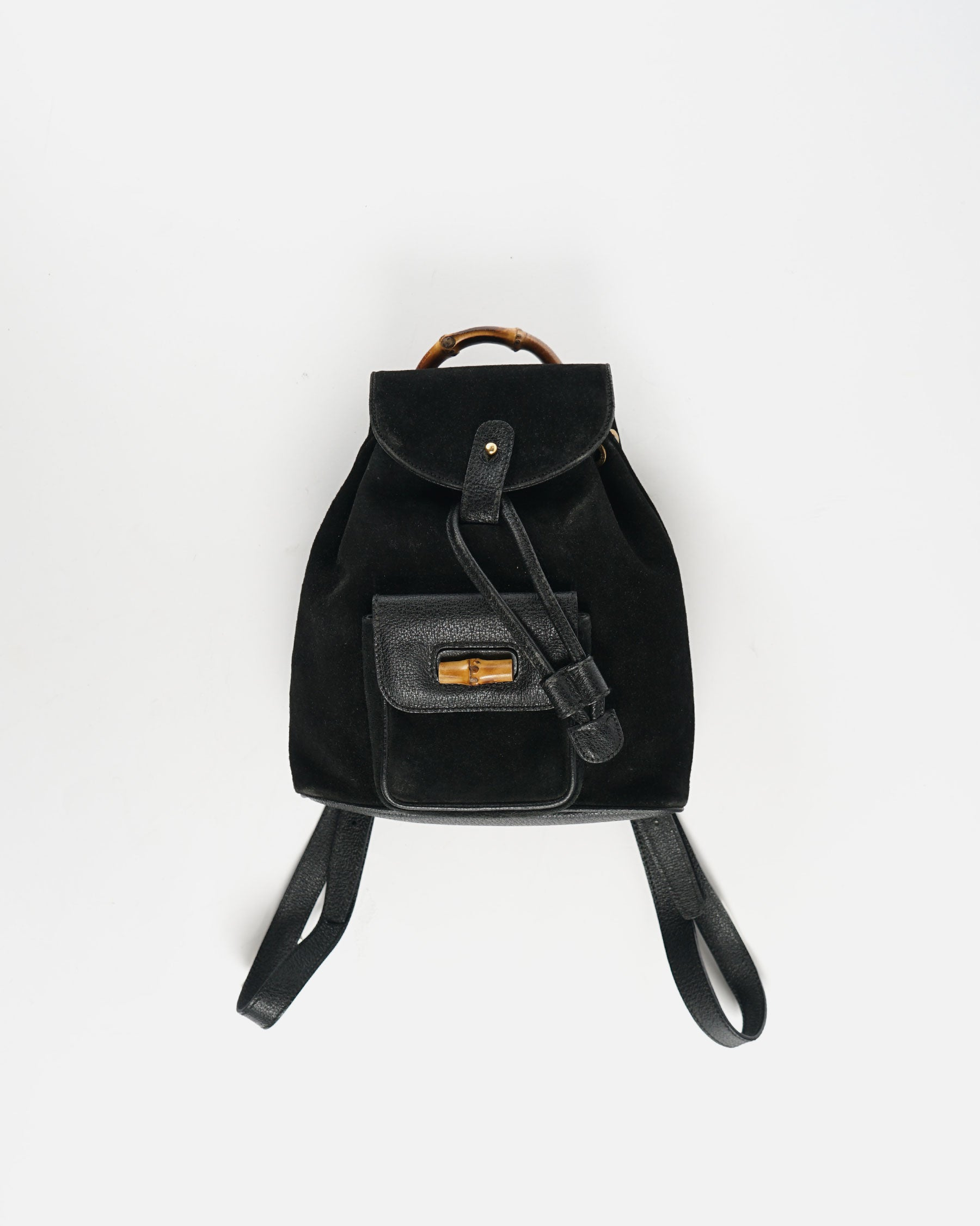 Suede Leather Backpack With Bamboo Handle