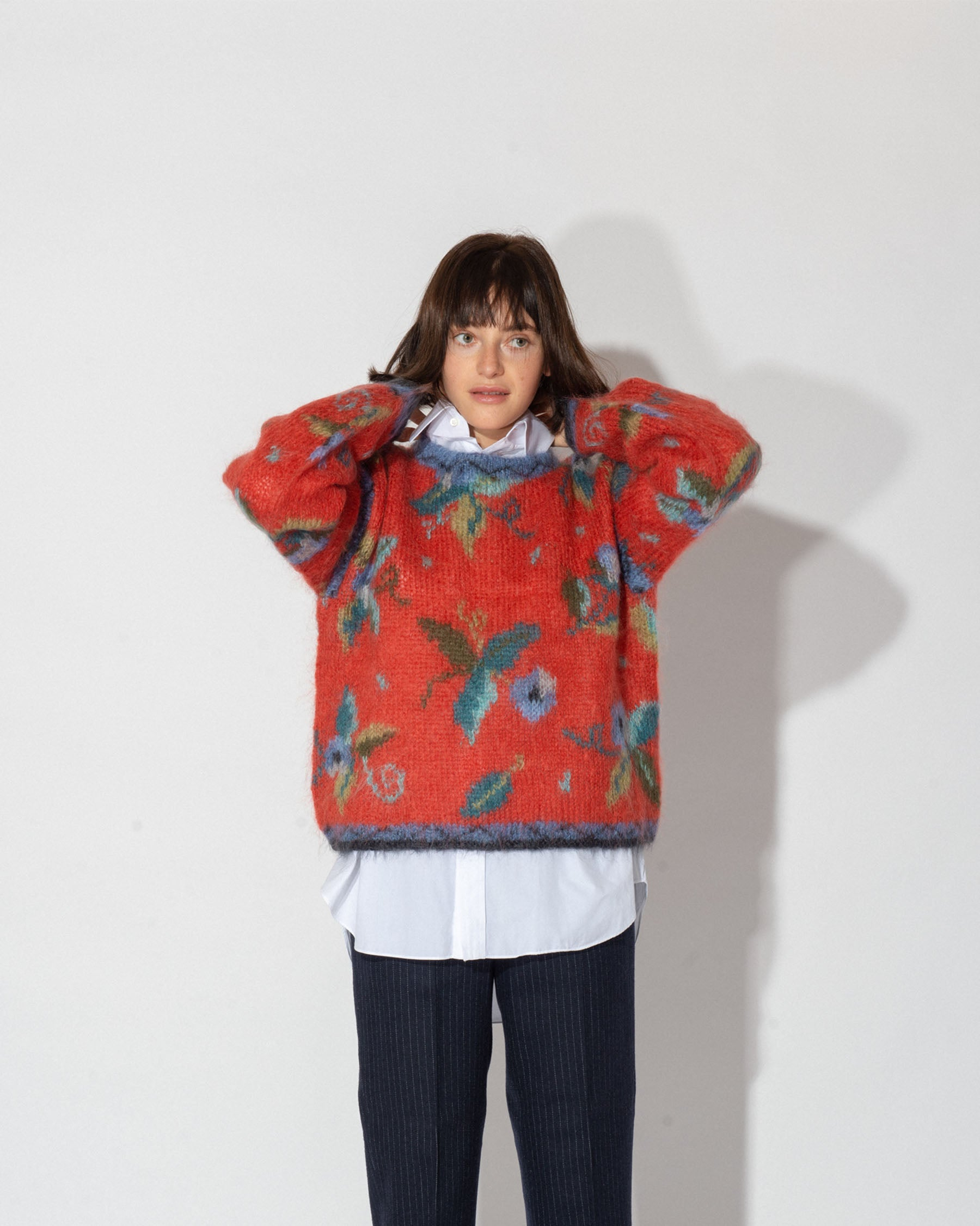 Flower Printed Mohair Sweater
