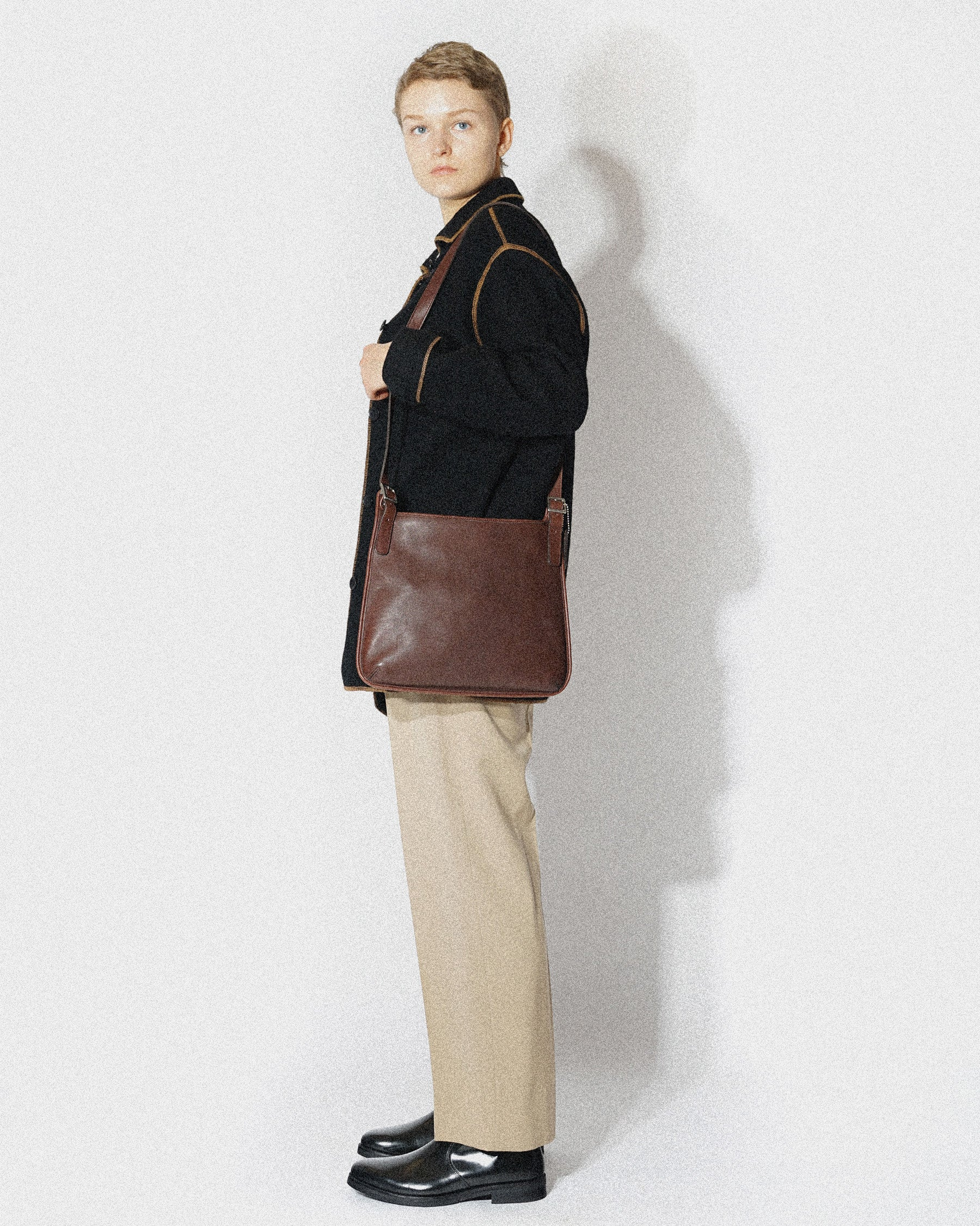 Brown Leather Flat Shoulder Bag