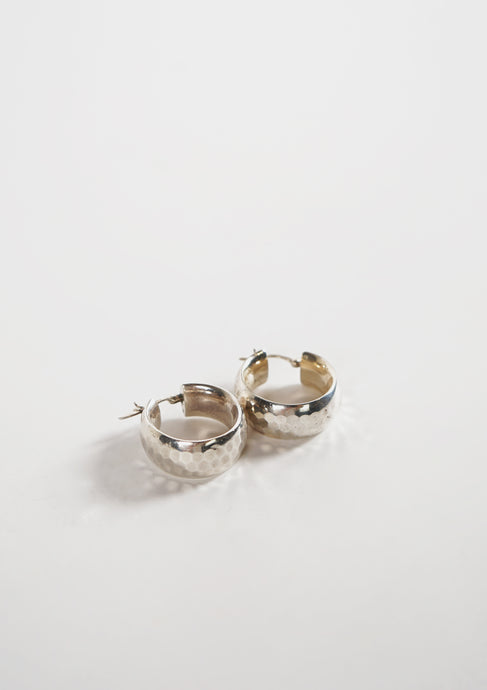 <strong>VINTAGE</strong></br>Hammered Hoop Earrings