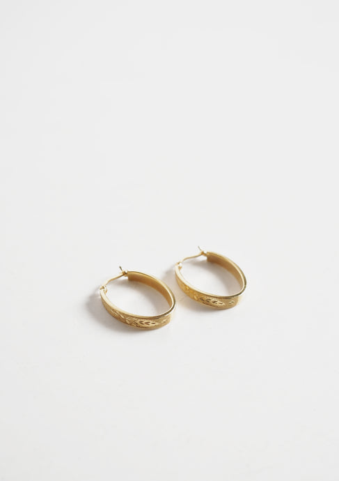 <strong>VINTAGE</strong></br>14k Engraved Oval Earrings