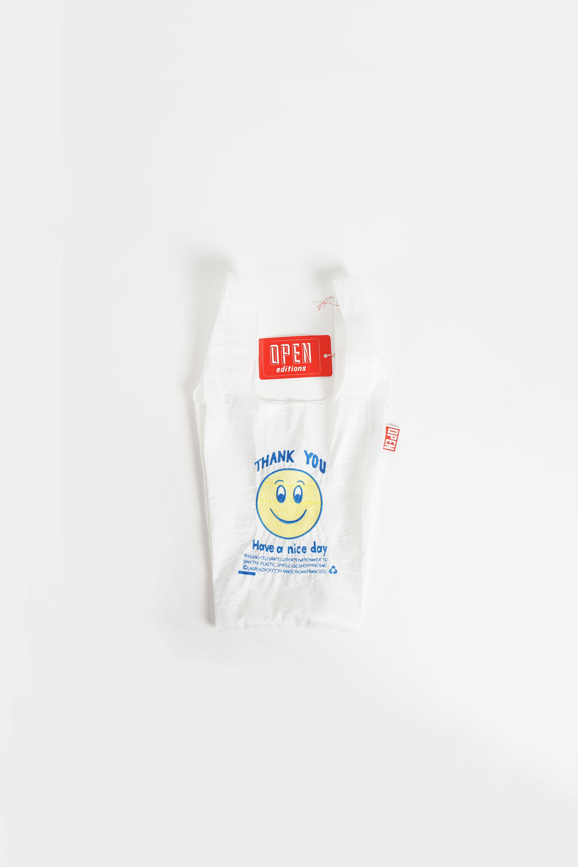 Mini Tote Bag White & Smile