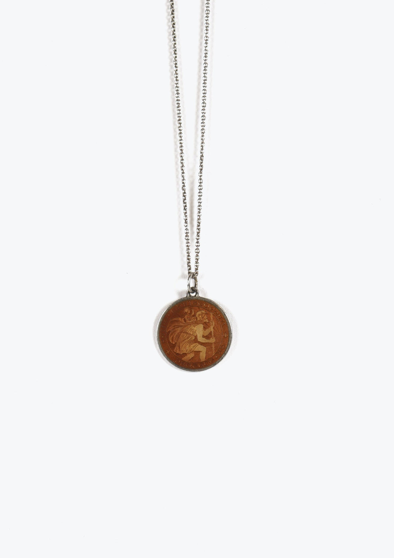 Brown Saint Christopher Enameled Pendant