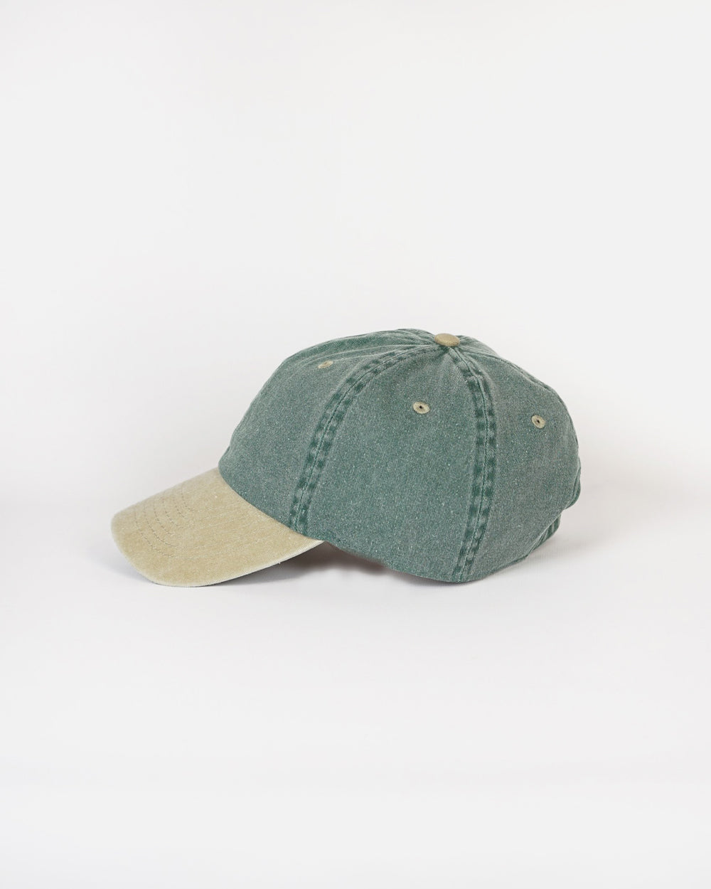 Washed Cotton 6-Panel Cap / Khaki x Green