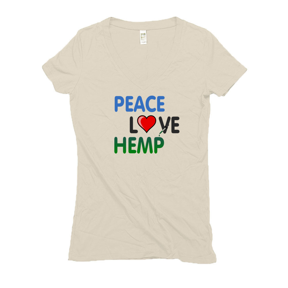 W-Hemp Peace Love Hemp V-Neck Shirt