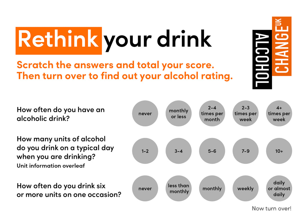 'Rethink your drink' scratchcards (pack of 100)