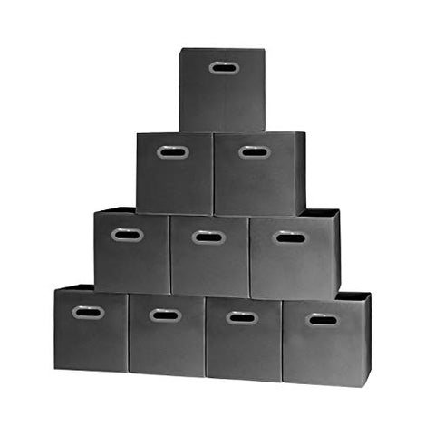 Prorighty [10-Pack, Black] Storage Cubes With Two Handles, Ideal For Shelves Baskets Bins Containers Home Decorative Closet Organizer Household Fabric Cloth Collapsible Box Toys Storages Drawer