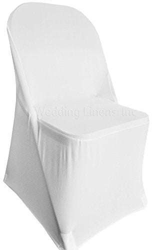 Brilliant Wedding Linens Inc 2 Pcs Spandex Folding Fitted Chair Covers Lycra Stretch Elastic Wedding Party Decoration Chair White Creativecarmelina Interior Chair Design Creativecarmelinacom