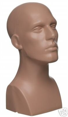 15  Tall Male Mannequin Head Durable Plastic Flesh (50013)