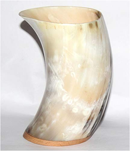 Genuine Large Handmade Drinking Ox Horn Mead Cup Goblet Authentic Medieval  Inspired Drinking Vessel Cosplay, Food Safe Coating With Wooden Base For