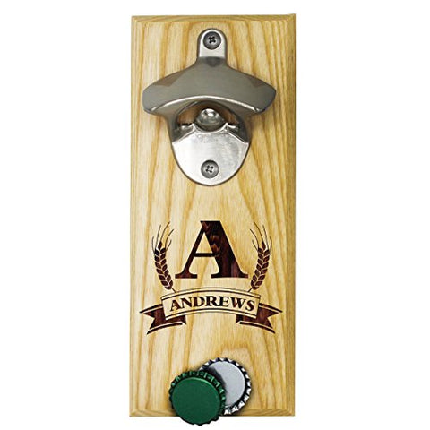 Personalized Wall Mount Bottle Opener Magnet Cap Catcher - Custom Engraved Groomsmen Wall Mounted Magnetic Gift (Maple, Barley)