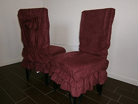 Octorose  Soft Micro Suede Shortly Dining Chair Covers (Wine(Reddish))