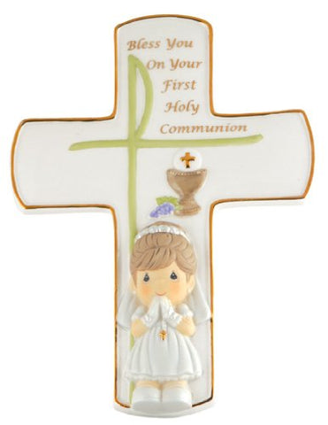 Precious Moments, Communion Gifts, Bless You On Your First Holy Communion, Girl, Bisque Porcelain Cross With Stand, #104409