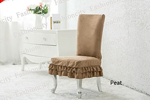 Octorose  Bonded Micro Suede Shortly Dining Chair Covers (Peat)
