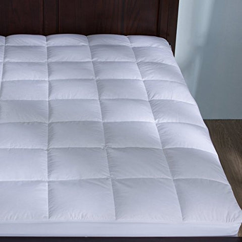 Puredown Down Mattress Pad/Topper-Quilted-100% Cotton Top,Block Bed Bugs And Dust Mites, King Size
