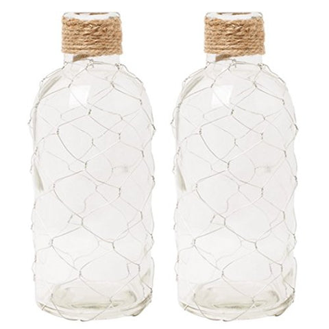 Hosley'S Set Of 2 Glass Wire Mesh Vase 8.5  High For Nautical, Country Floral, Candle Garden, Aromatherapy, Diffuser Settings. Ideal Gift For Weddings, Party, Spa, Reiki P1