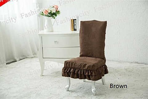Octorose  Soft Micro Suede Shortly Dining Chair Covers (Brown)