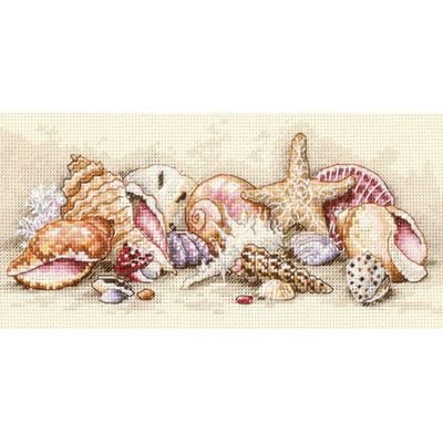 Gold Petite Seashell Treasures Counted Cross Stitch Kit So12