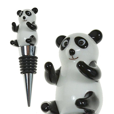 Prestigehaus Glass Panda Wine Bottle Stopper - Decorative, Colorful, Unique, Handmade, Eye-Catching Glass Wine Stoppers - Wine Accessories Gift For Host/Hostess - Wine Corker/Sealer