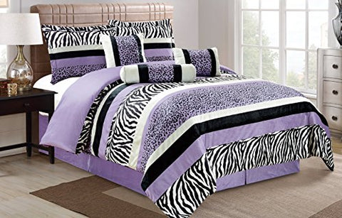 7 Pc Purple Black White Grey Zebra Leopard Micro Fur Comforter Set Queen Size Bedding