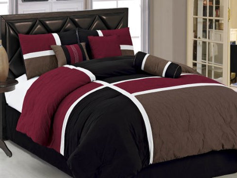 7-Pieces Burgundy Brown Black Quilted Patchwork Comforter Set Queen Size