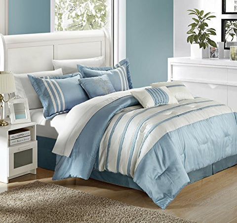 Chic Home Torino Pleated Piecing Luxury Bedding Collection 11-Piece Comforter Set, King, Blue