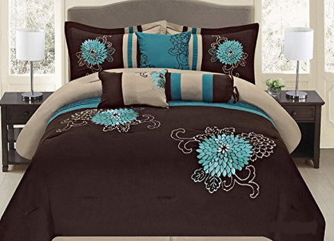 Brown Turquoise Or Grey Yellow Western Style 7 Pcs Embroidery Comforter Set (King, Brown Turquoise)