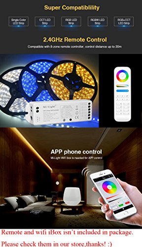 Mi Light Ls2 Led Strip Lights 2 4Ghz Wirelss 5 In 1 Controller,Compatible  With Single Color,Rgb,Rgbw,Ww+Cw,Rgb+Cct Led Strip Lights,8-Zone Remote