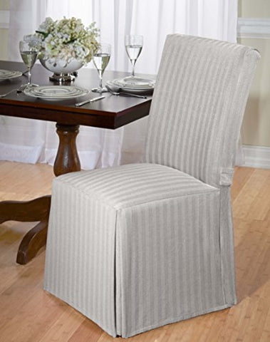 Luxurious Dining Chair Cover, Herringbone, Beige, Grey, And Red (Gray)