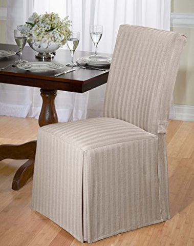 Luxurious Dining Chair Slipcover, Herringbone, Beige, Grey, And Red (Beige)