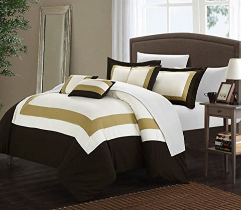 Lord 10 Piece Pieced Color Block Bed In A Bag Comforter Set, With Sheet Set (Queen, Gold)