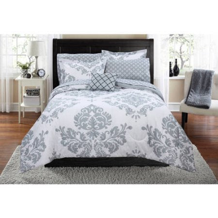 Mainstays Classic Noir Bed In A Bag Bedding Set | Machine Washable For Easy Eare (Full, Gray)