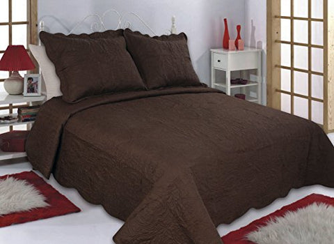 All For You 3-Piece Reversible Bedspread/ Quilt Set-Chocolate/Brown (Larger King With King Size Pillow Shams)