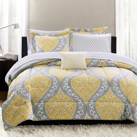 Mainstays Yellow Damask Coordinated Bedding Set Bed In A Bag - Twin
