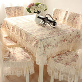 Country Style Lace Coffee Grace Floral Design Chair Back Cover And Chair Cushion Cover