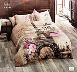 100% Cotton Comforter Set 5 Pcs Paris Eiffel Tower Brown Theme Themed Pink Flowers Full / Queen Size Bedding Linens